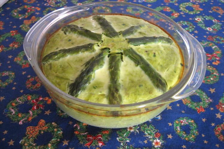 Flan d'asperges vertes à l'échalote et noix de muscade