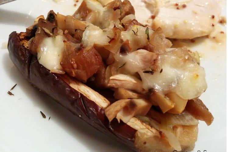 Aubergines farcies aux champignons et à la mozzarella