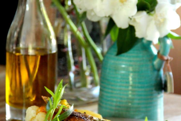 Dorades roses grillées au curcuma, persil, estragon