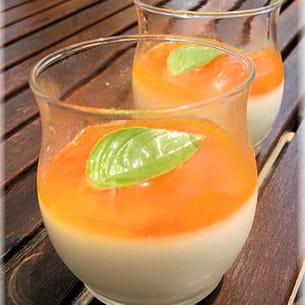 panna cotta chocolat blanc et coulis d'abricot