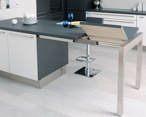 Ilot de cuisine touch de cuisinella for Ilot central avec table extensible