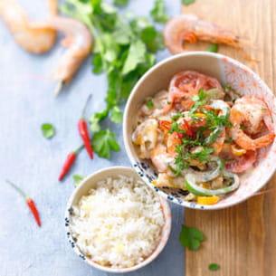 moqueca de camarão da bahia (crevettes au lait de coco)