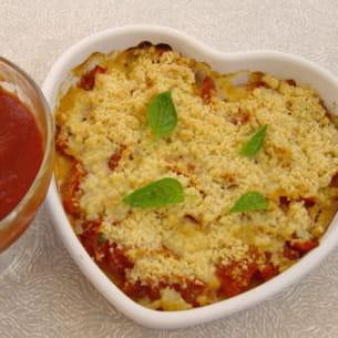 tomates et basilic en crumble
