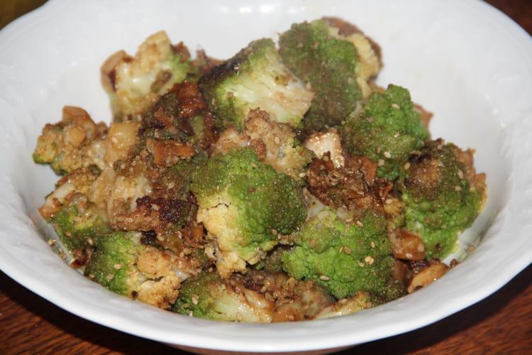 Chou romanesco au gingembre, sésame et sauce soja