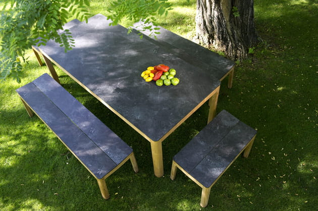 table et banc de jardin tekura de camif. Black Bedroom Furniture Sets. Home Design Ideas