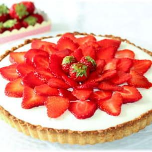 tarte aux fraises et mousse au chocolat blanc
