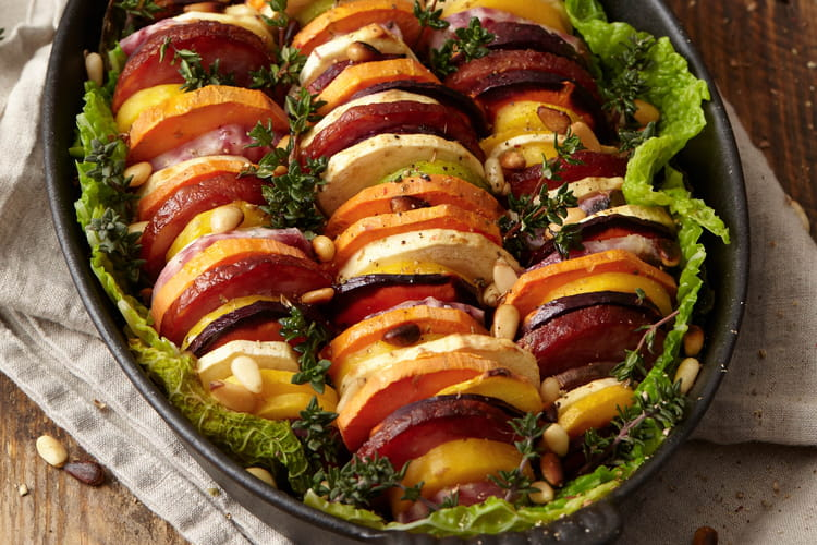 Tian de vieux légumes à la saucisse de Morteau