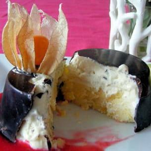 dôme glacé exotique, coulis de framboise vanillé