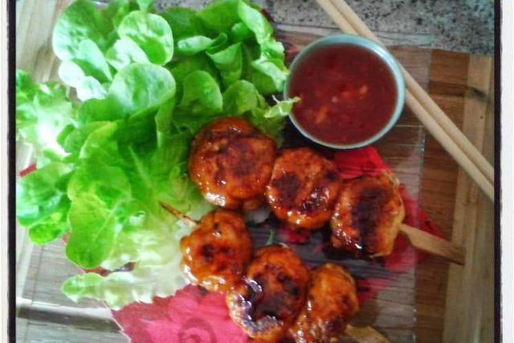 Yakitoris de poulet sauce terriyaki
