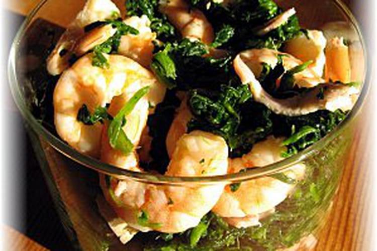 Salade d'épinards aux crevettes