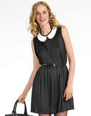 robe noire à col claudine de kiabi