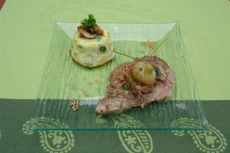 Rôti de porc farci aux herbes fraiches et petit flan au brocoli