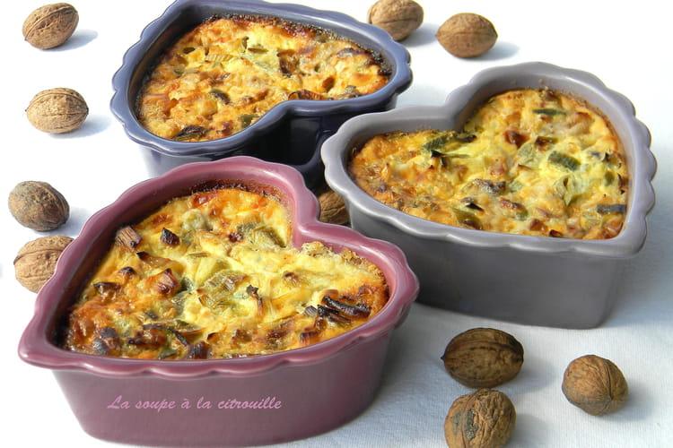 Clafoutis au roquefort aux noix et aux poireaux
