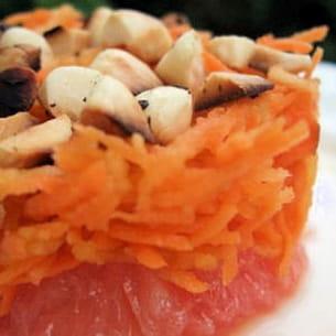 carottes fraîcheur et croquant de noisettes