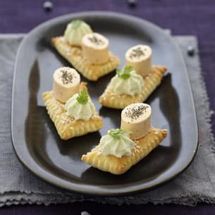 feuilleté au sésame, chantilly wasabi, apérivrais saumon