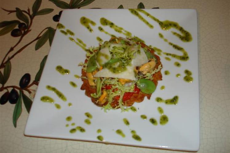 Frisouillette d'été de Bouchot et fèves au pistou, sur tarte fine de tomates