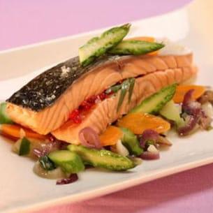paupiettes de saumon de norvège à l'estragon et pointes d'asperge