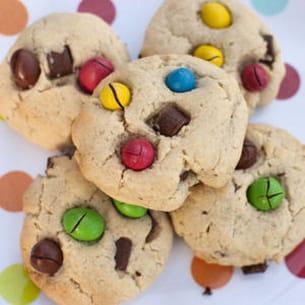 cookies pépites de chocolat et m&m's