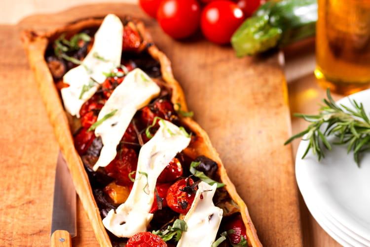 Tarte fine aux légumes rôtis et Chevrotin
