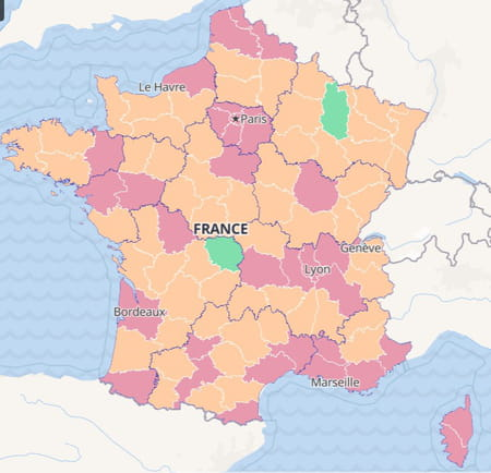 carte du taux d'incidence du covid-19 en France