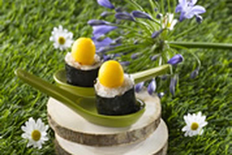 Sushi chèvre frais ail noix et mangue