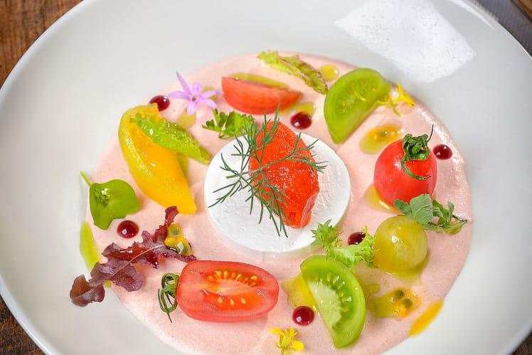 Mousse de tomate à l'acérola, caillé de chèvre Clarins