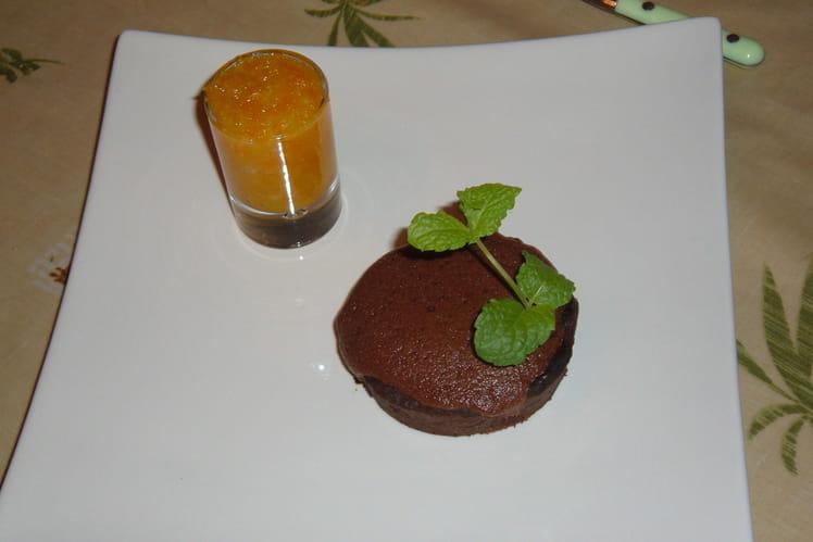 Tartelette choco moelleux, marmelade d'orange