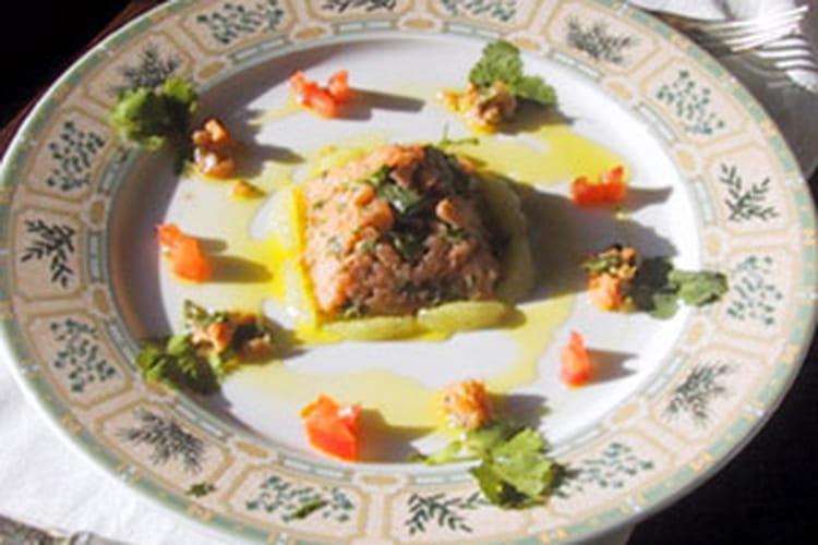 Tartare d'huitres, Saint-Jacques et saumon sauvage