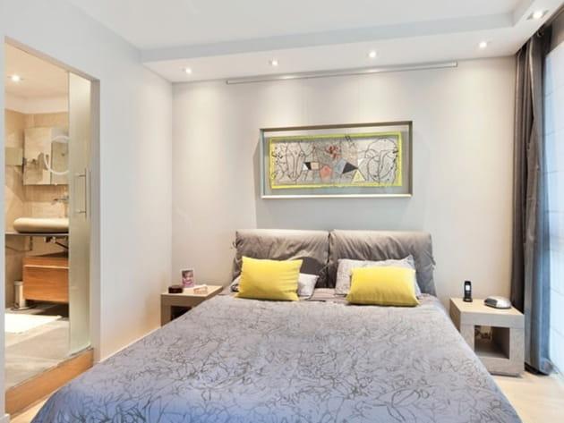 Chambre design gris et jaune
