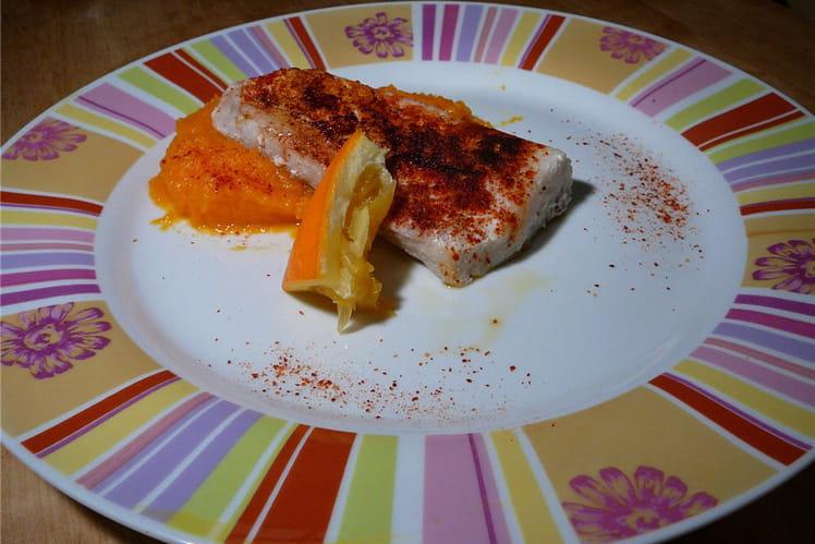 Dos de colin tandoori, purée de carottes à l'orange