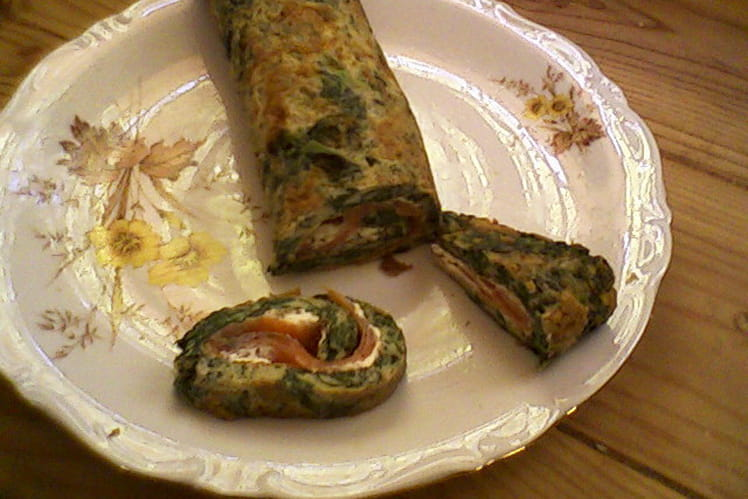 Omelette au saumon, épinard et St Môret