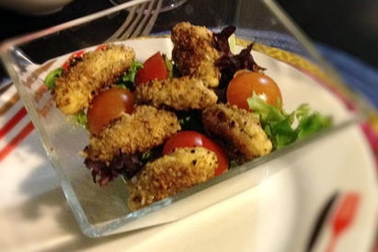 Salade de quenelles panées aux noisettes