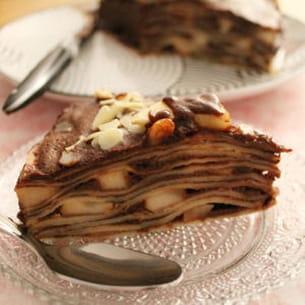 gateau de crêpes, poires, chocolat, nutella
