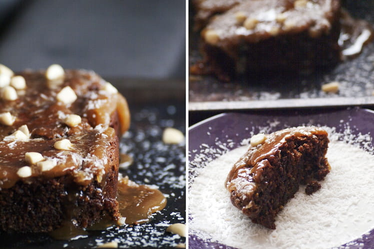 Brownies aux deux chocolats et crème au caramel