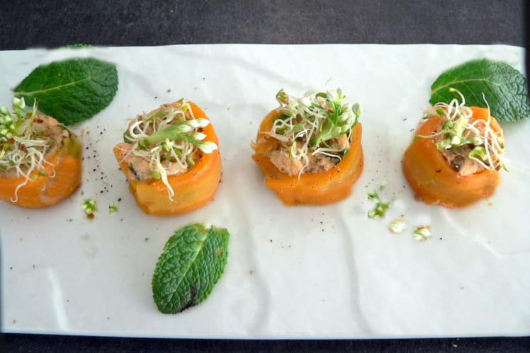 Makis de carottes aux rillettes de saumon