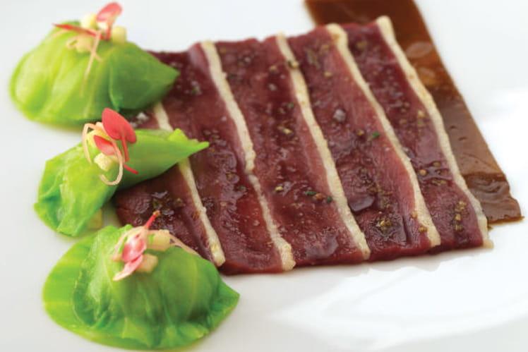 Filets de canard marinés selon Apicius, pomme granny
