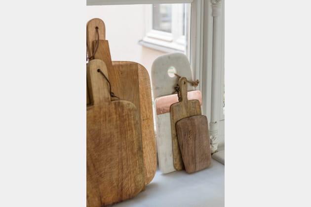 Collection de planches en bois brut