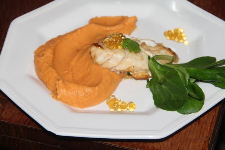 Dos de cabillaud mariné aux agrumes et au miel, purée épicée de patates douces, perles de mandarine