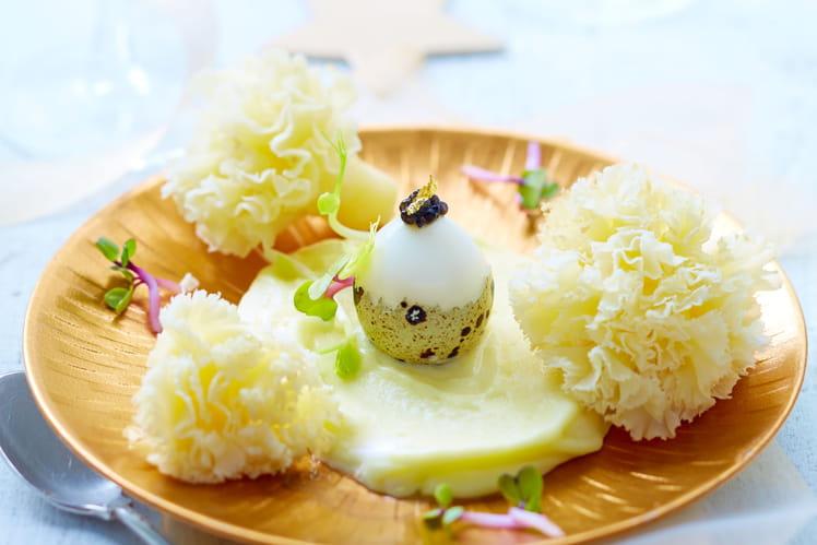 Mousse de pommes de terre à la Tête de Moine AOP et ses oeufs de cailles au caviar