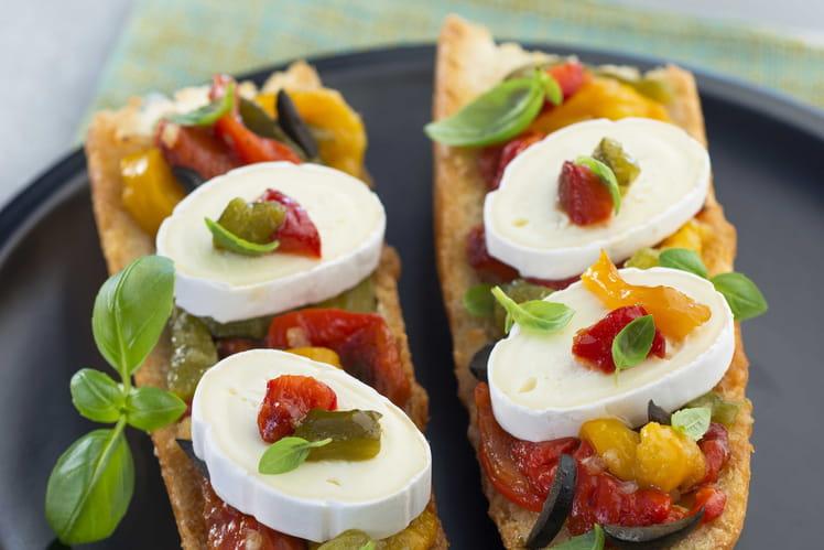 Baguette, poivrons, basilic et En Cas de Caprice