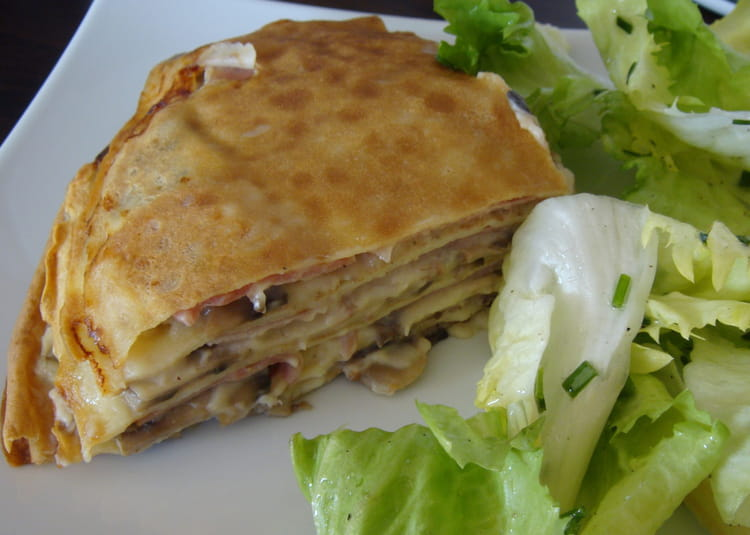 Recette de millefeuille de cr pes au jambon et aux - Cuisiner champignons de paris frais a la poele ...