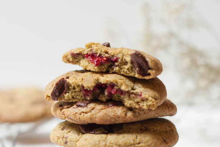 Cookies matcha chocolat framboises