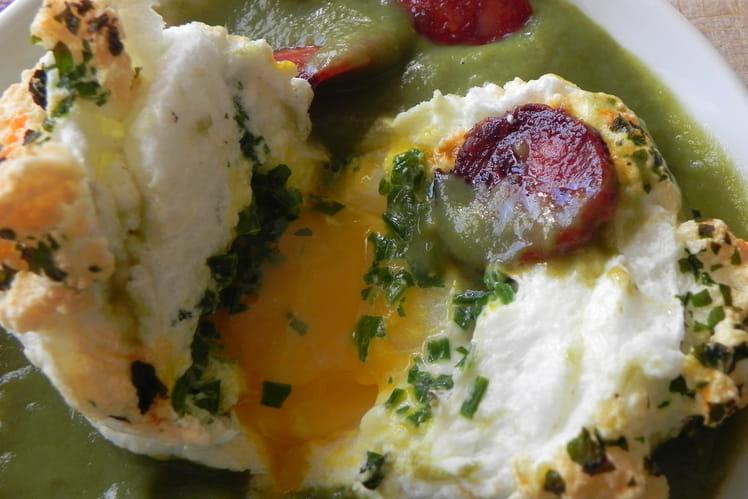 Recette oeuf en neige coeur coulant sur mousseline verte - Une mousseline en cuisine ...