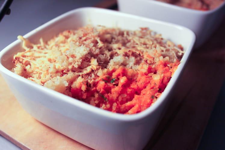 Crumble salé à la purée de carottes