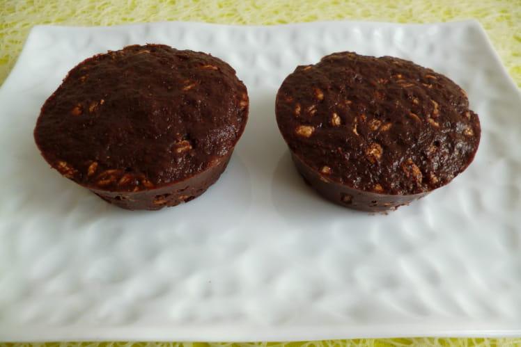 Muffins crus chocolat noisette hyperprotéinés blé complet soufflé et psyllium