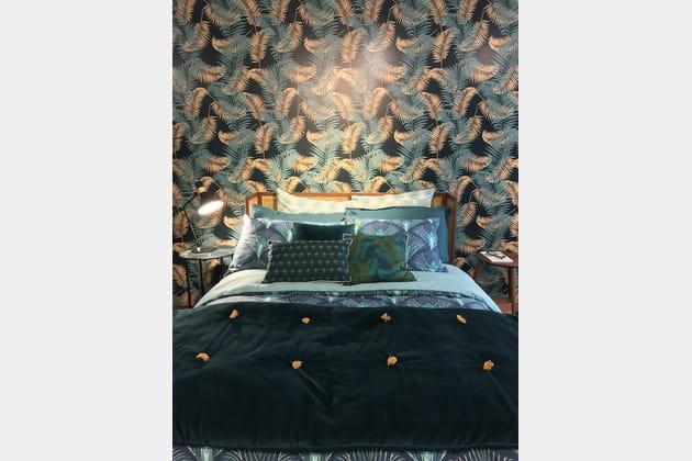 Chambre bleue à motifs
