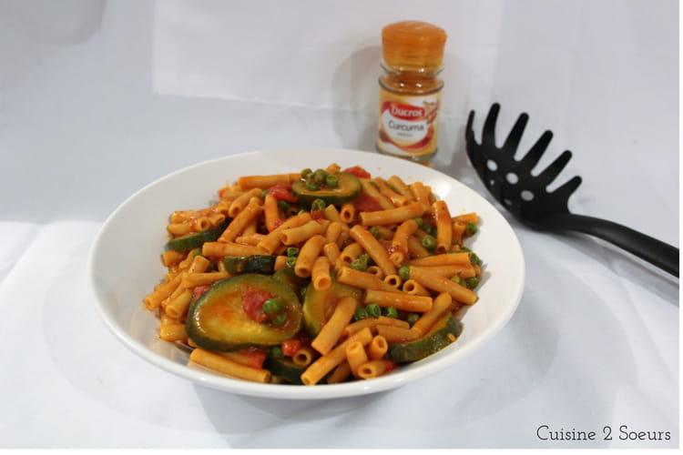 One pot pasta courgettes petits pois curcuma