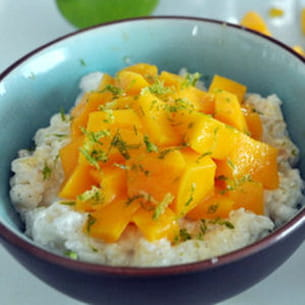 riz au lait vanillé et mangue zeste de citron vert