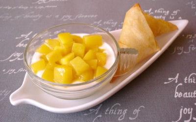 verrines ricotta-mangue et ses croustillants