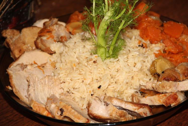 Rôti de porc, courge sucrine du Berry au fenouil, jus de cuisson à l'orange et au miel de thym